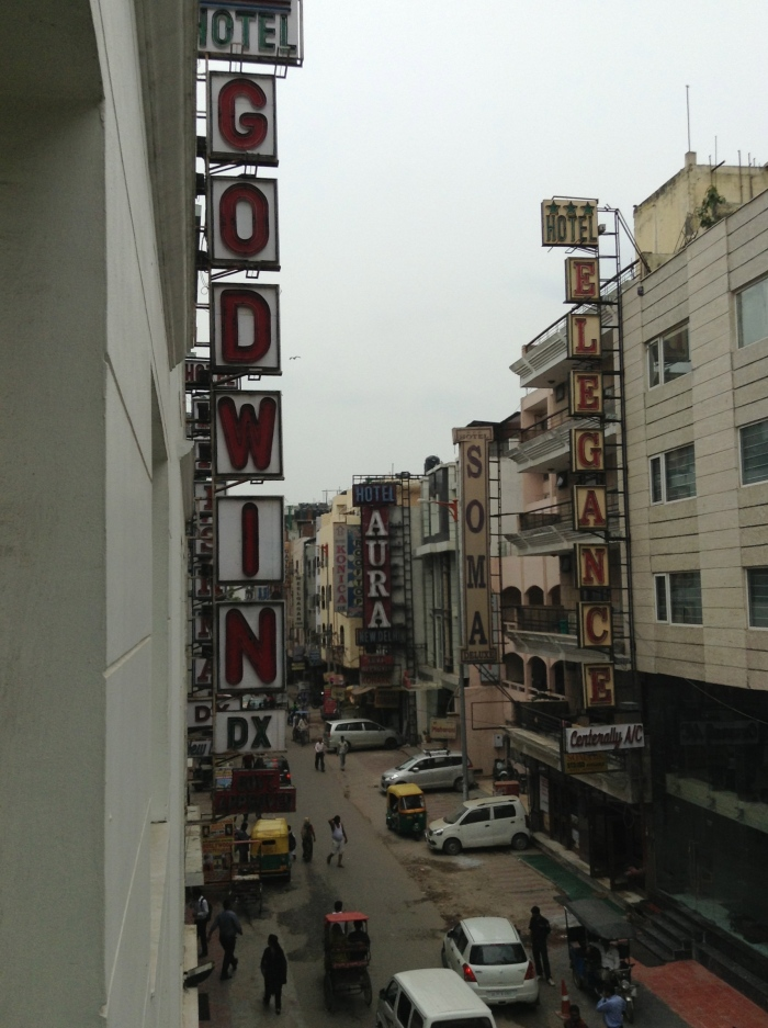 Street view from our hotel, the Godwin Deluxe in the Paharganj neighborhood
