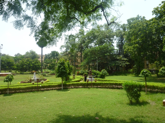 The peaceful green gardens of prestigious Banaras Hindu University